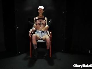 Slender Tattooed Beauty Eats Cum In Gloryhole