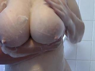 Mature Bbw Wife Soaping And Washing Her Big Tits In Shower