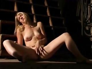 Basement, Blonde, Masturbation, Smoking