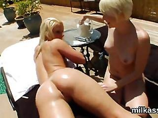 Horny Lesbians Fill Up Their Oversized Butts With Milk And Ejaculate It Out