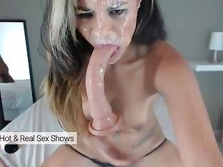 Extremely Deep Deepthroat Sloppy Dildo Fuck. All Face Covered In Spit.