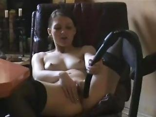Teen Tests The Vacuum On Her Body And Pussy.