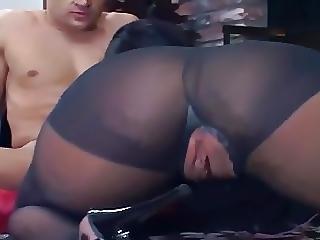 Fucking On The Floor In Sheer Black Pantyhose