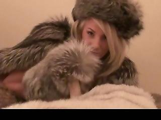 British Blonde Rubbing That Cock With Fur