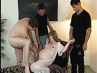 Pregnant Milf Natalie Getting Fucked By Three Cocks