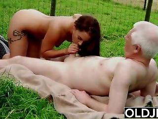 Horny Teen Farm Girl Masturbating And Fucks Old Man In Hard Old Young