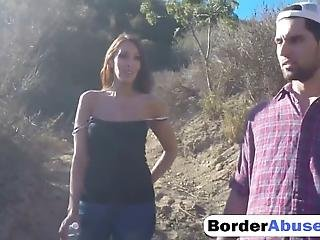 Rough Outdoor Fucking With Nasty Slim Brunette Slut With Small Tits Big Ass And Shaved Pussy Who Is Getting Slammed Hard By A Big Cocked Border Agent