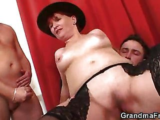 Sexy Mature Loves Two Cocks