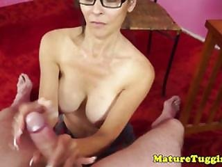 Pov Jerking Milf In Glasses Gets The Cream