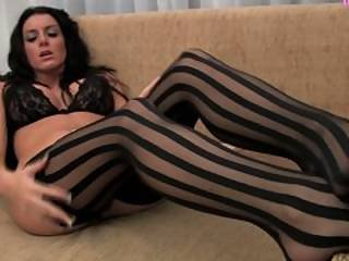 Fiona Graham Striped Stockings And Lingerie