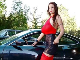 Natural Busty Eva Black Car Outdoor