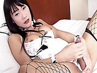Sexy Ladyboy In Lingerie Masturbates In Front Of The Camera