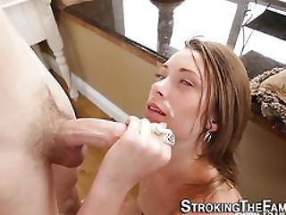 Horny Stepsis Gets Facial