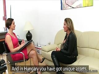 Female Agent Interviews Monster Tits Gal