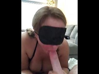 Slut Wife Sucking My Dick Blindfolded And Talking Dirty To Me Then Swallows
