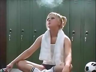 Cute Blonde Smoking Gets Fucked In The Locker Room