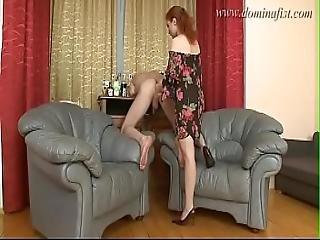 femdom, öklözés, lábfej, vöröshajú, orosz