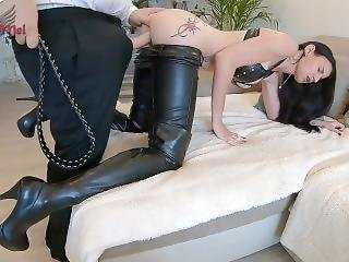 Hot Chick In Thigh High Boots Fucked By Fat Dude With Fake Cock