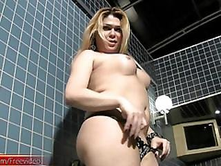 Blonde T-girl With Massive Ass Is Teasing And Jerking Off