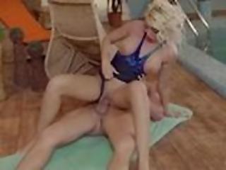 blondin, knullar, pool, simbassäng