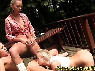 Lesbians Get Piss Covered