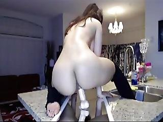 Asian, Dildo, Exgf, Huge Dildo, Kitchen, Masturbation, Riding, Sex, Toys