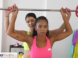 Fitness Rooms Soaking Lesbian Pussy Gets Fucked