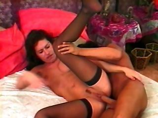 Brunette Nymph Gets Hammered In Both Holes