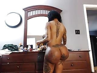 Ass, Big Boob, Boob, Butt, Ebony, Fake Tits, Tattoo, Webcam