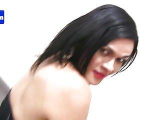 Latin Chick Ladyboy Pulling Her Hard Wang