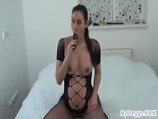 Pregnant Janetta Fucks Her Hairy Pussy With A Dildo