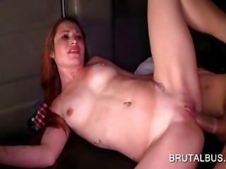 Redhead Cutie Slit Hammered In Sex Bus