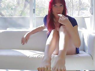 Barefeet Redhead Lady-boy Jerking Her Pecker