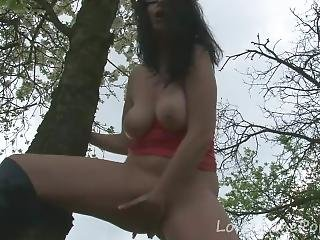 Outdoor Undressing With A Curvy Busty Bombshell