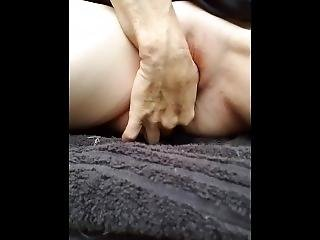 Alone In The Mountains She Pees Her Panties And Then Stuffs Them In Pussy!