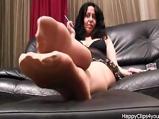 Alisa High Heels Dangling%2C Stockings And Smoking