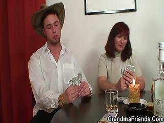 Threesome Sex With Old Woman After Strip Poker