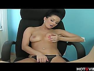 Skank Fingers Herself In Office Chair