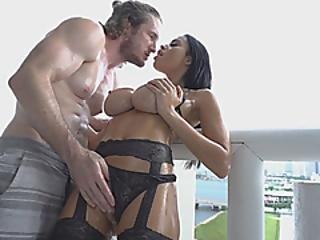 Busty Babr Gets Oiled Up And Taken From Behind