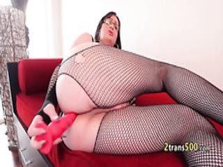 Chubby Tgirl Stroking Her Cock Solo