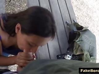 Pretty Teen Has No Choice But To Please The Long Dong Of The Border Guard She Gives Him A Blowjob Before Getting Her Pussy Filled With It