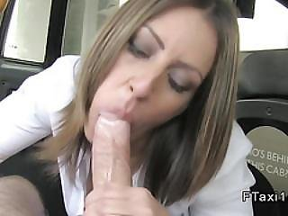 Busty Clothed Brunette Bangs In Fake Taxi