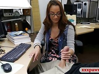 Pretty Amateur College Girl With Glasses Gets Her Pussy Screwed By Horny Pawn Keeper In His Pawnshops Backroom