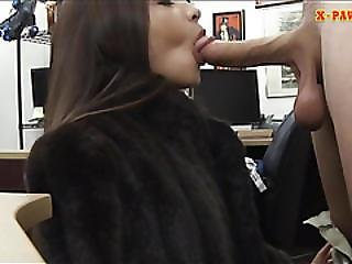 Small Tits Babe Try To Sell A Fur Coat And Screwed Hard