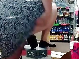 Bbw Riding Bottle In Liquor Store