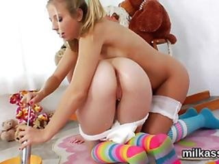Slutty Lezzies Fill Up Their Oversized Arses With Milk And Squirt It Out