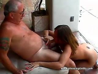 Cutie Gets Throat Fucked By Old Man