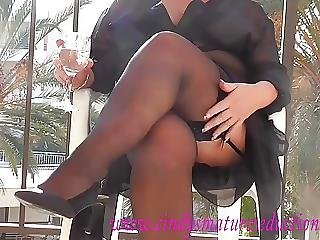 Amateur, Mature, Milf, Nylon, Sexy, Skirt, Stocking, Teasing, Upskirt