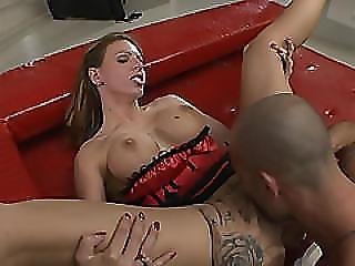 A Horny Man Drills Tight Asshole Of A Dirty Brunette Slut Very Hard
