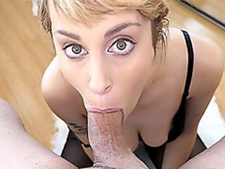 stor pupp, blond, blowjob, sperm, sperm i munn, sperm svelging, deepthroat, pov, sexy, svelge